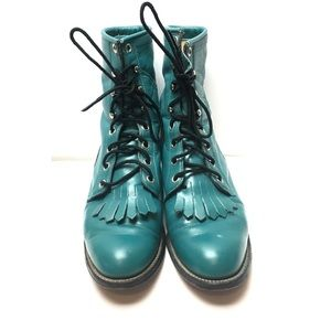 Justin Teal Leather Roper Lace Up Boots